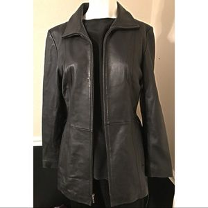 100% Leather Jacket Size M 10 - 12.